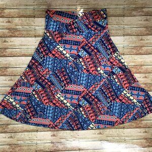 LuLaRoe Blue Pink Printed Azure Midi Skirt Small